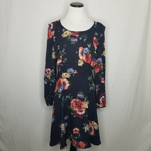 Floral LS Scoop Neck Button-Front Dress POCKETS